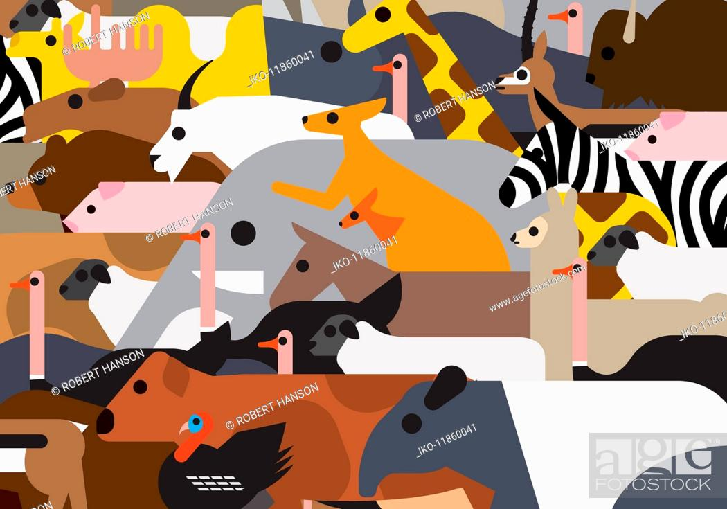 Stock Photo: Full frame pattern of lots of different animals.