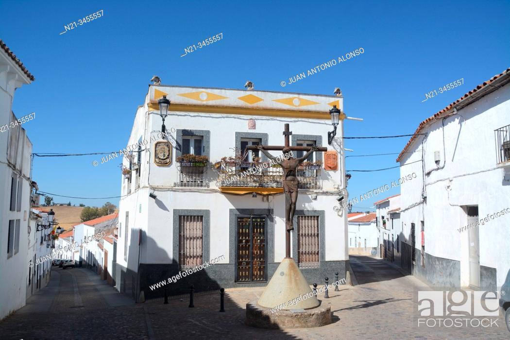 Stock Photo: Plaza de la Caridad. Town of Fuenteobejuna (aka Fuenteovejuna, Fuente Ovejuna or Fuente Obejuna), Province of Cordoba, Andalucia, Spain, Europe.