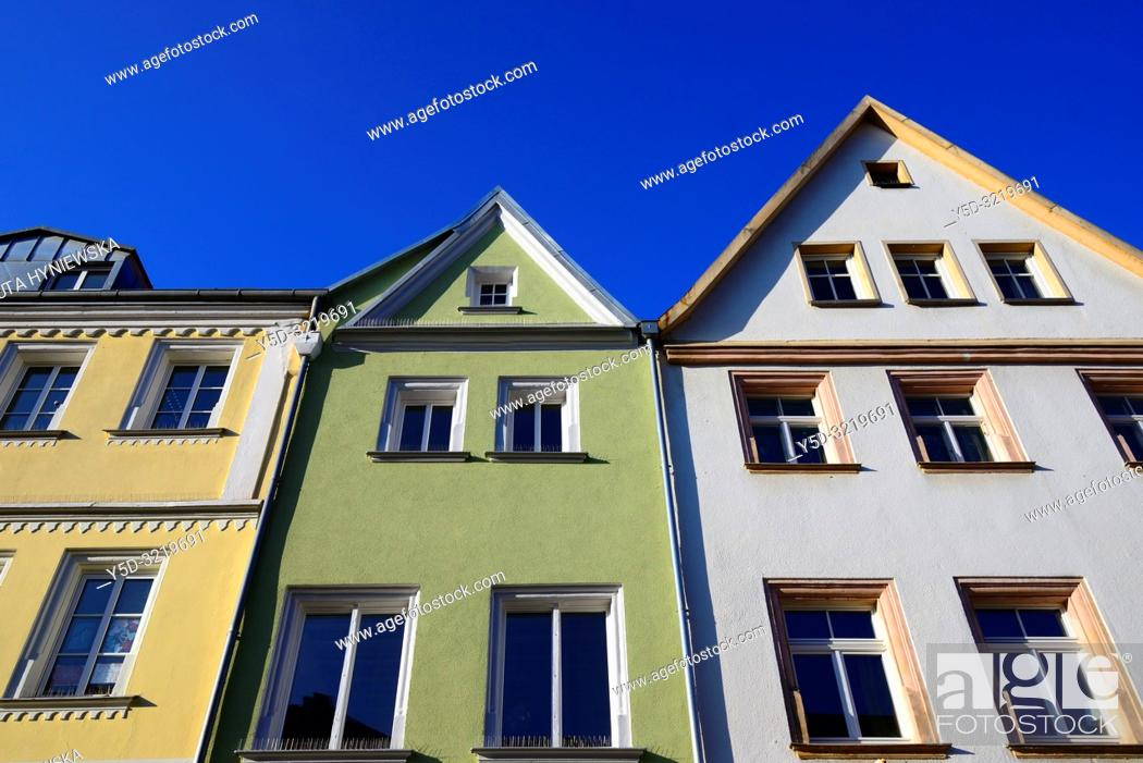 Stock Photo: Facades of historic townhouses against blue sky, Maximilianstrasse - main touristic promenade in old town, Bayreuth, capital of Upper Franconia, Bavaria, Bayern.