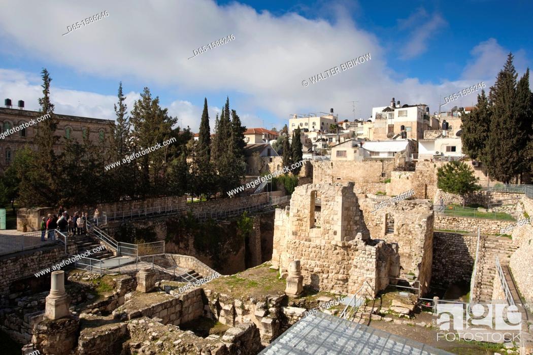 Israel, Jerusalem, Muslim Quarter, ruins of the biblical