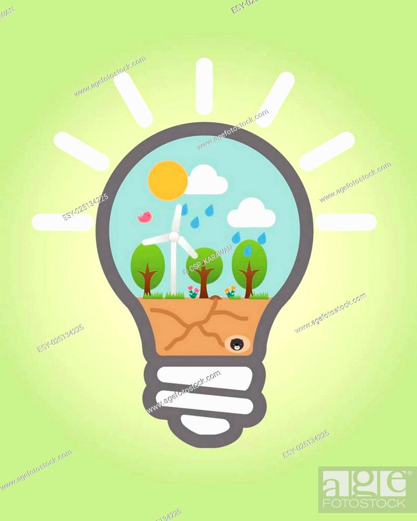 Stock Vector: Bulb light With Save Nature vector.