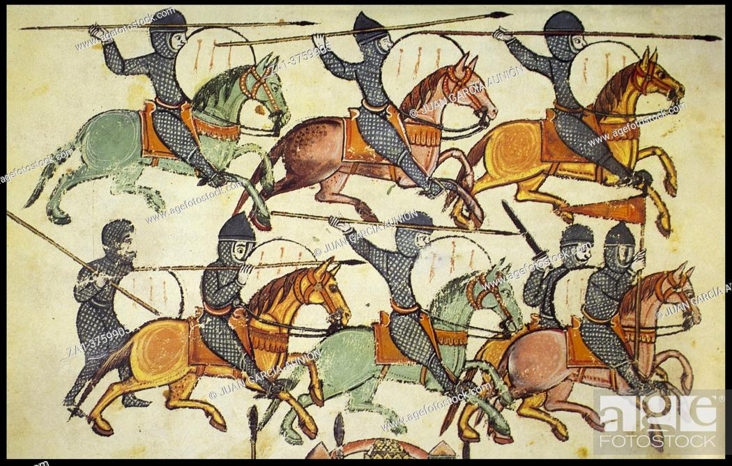 Stock Photo: Medieval cavalry charging, 10th century manuscript. Illuminator Magius.