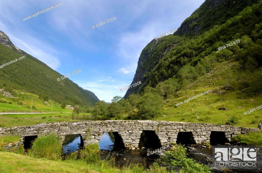 Stock Photo: Old bridge, Ytredalen, Sogn og Fjordane, Norway, Scandinavia, Europe.