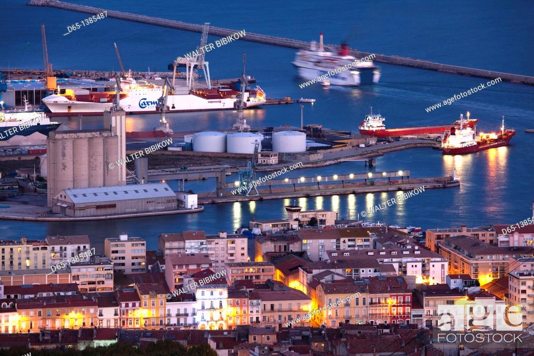 Stock Photo: France, Languedoc-Roussillon, Herault Department, Sete, port overview from Mont St-Clair, dusk.