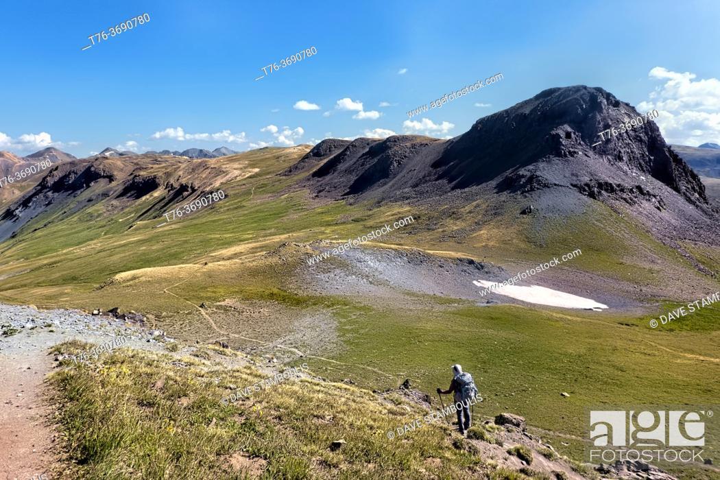 Stock Photo: Hiking through the San Juan Mountains on the 485 mile Colorado Trail, Colorado.
