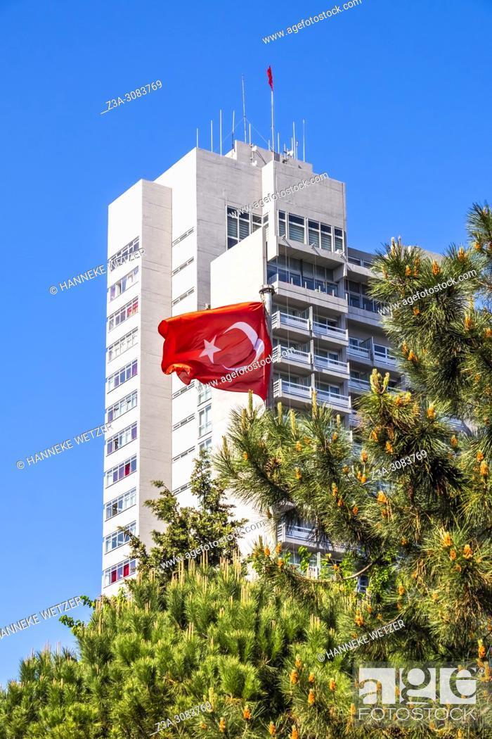 Stock Photo: Hilton hotel with turkish flag in Istanbul, Turkey.