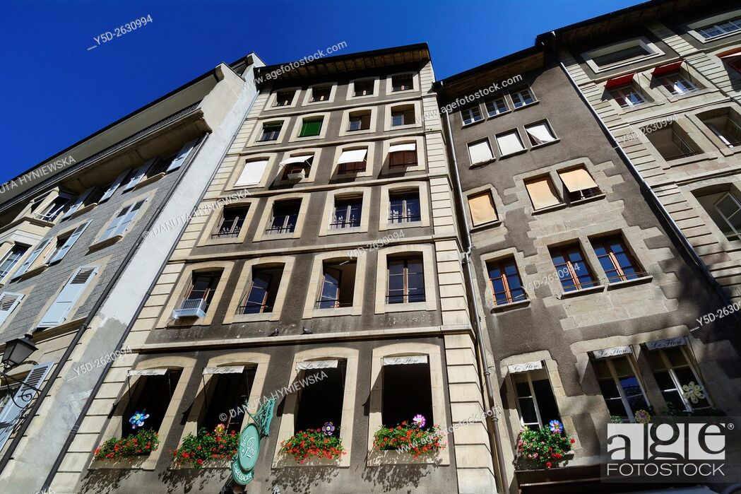 Stock Photo: facades of townhouses in old town of Geneva, Switzerland, Europe.