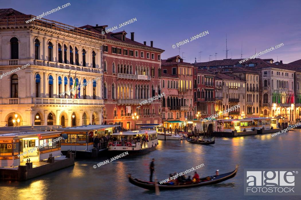 Stock Photo: Colorful evening over the Grand Canal and city of Venice, Veneto, Italy.
