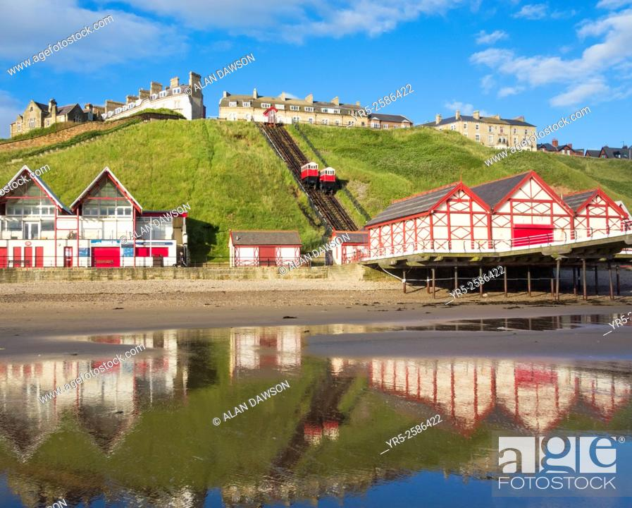 Stock Photo: Saltburn`s Victorian pier and cliff lift. Saltburn by the Sea, North Yorkshire, England, United Kingdom.