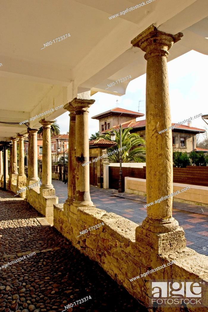 Stock Photo: Calle Galiana street in old town, Aviles, Asturias, Spain.