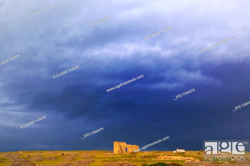 Stock Photo: Acinipo Roman Ruins, Malaga Province, Spain  Ruins of Roman city also known as Ronda La Vieja  The theatre.