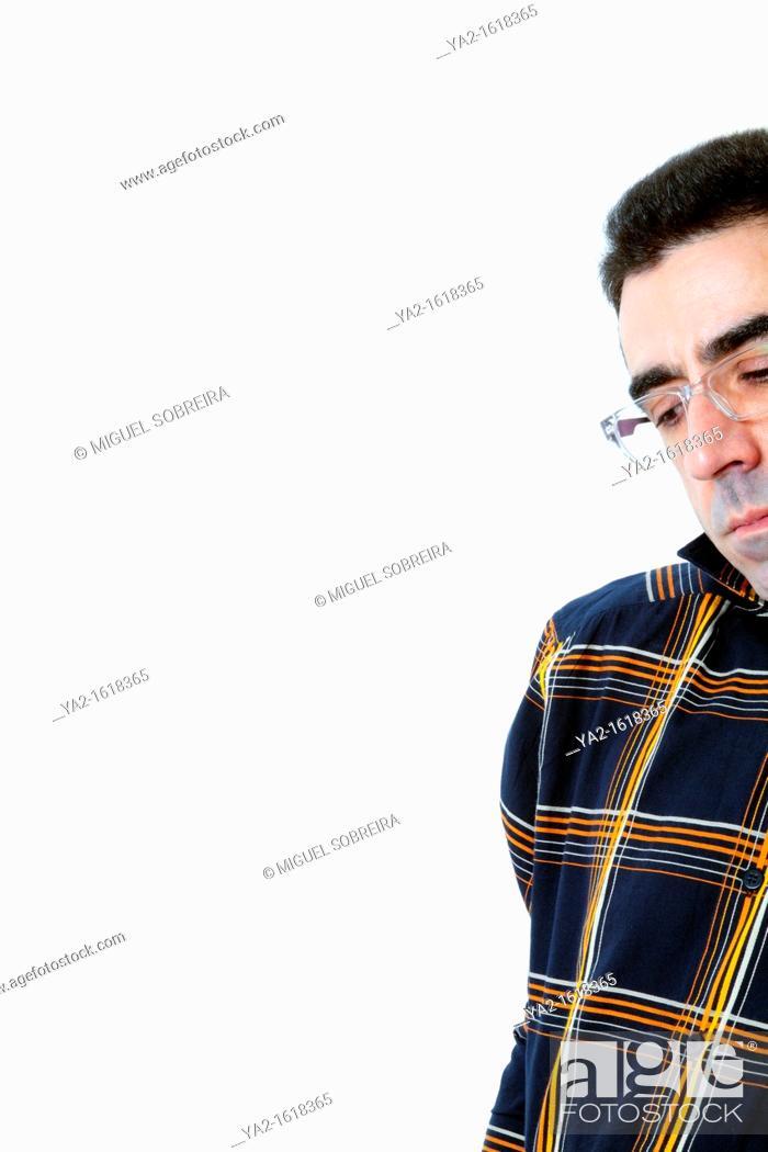 Stock Photo: Pensive Man at Edge of Frame.