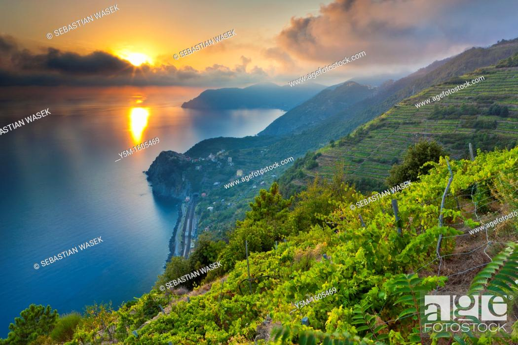 Stock Photo: Sunset over Corniglia, Cinque Terre National Park, Province of La Spezia, Liguria, Italy, Europe.