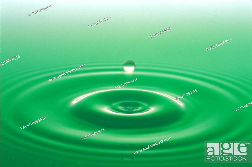 Stock Photo: water drop, green, ripple, surface, natural world, wave.