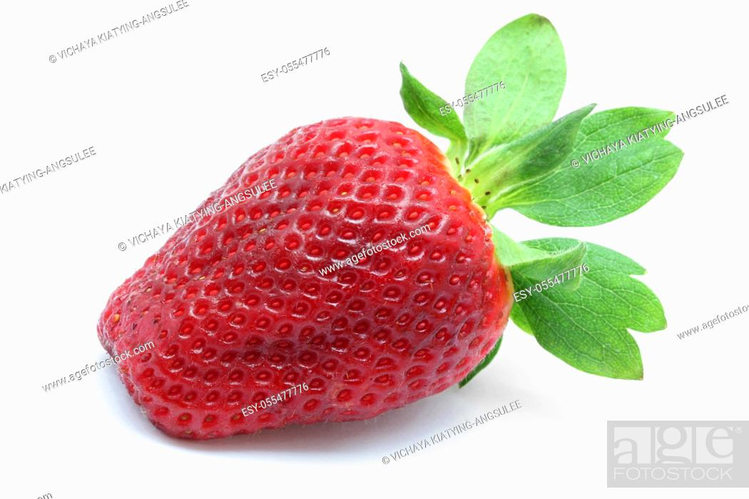 Stock Photo: macro shot of Strawberry isolated over white background.