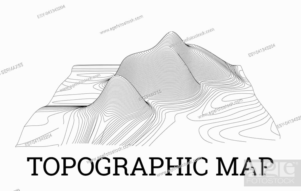 Stock Photo: Topographical map of the locality, illustration with lines.