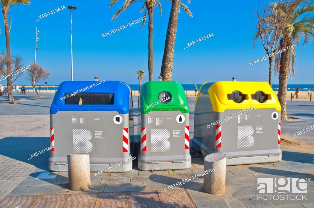 Stock Photo: Recycling bins at Platja de Sant Sebastia beach Barcelona Catalunya Spain Europe.