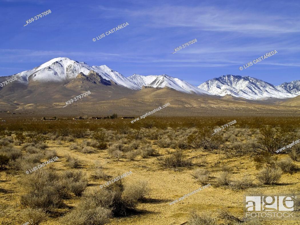 Stock Photo: Eastern Sierra Nevada with Owens Peak. Inyokern. Kern County. California. USA.