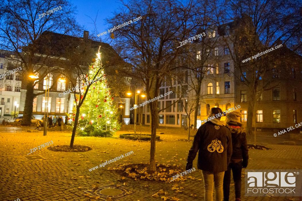Stock Photo: Christmas tree opposite St Gereon church in Cologne on Dec 4, 2016 in Germany.