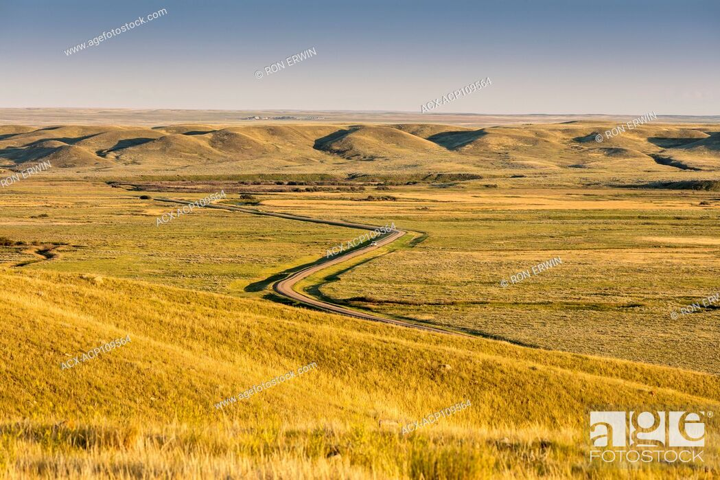 Stock Photo: Road winding through Grasslands National Park in Saskatchewan, Canada.