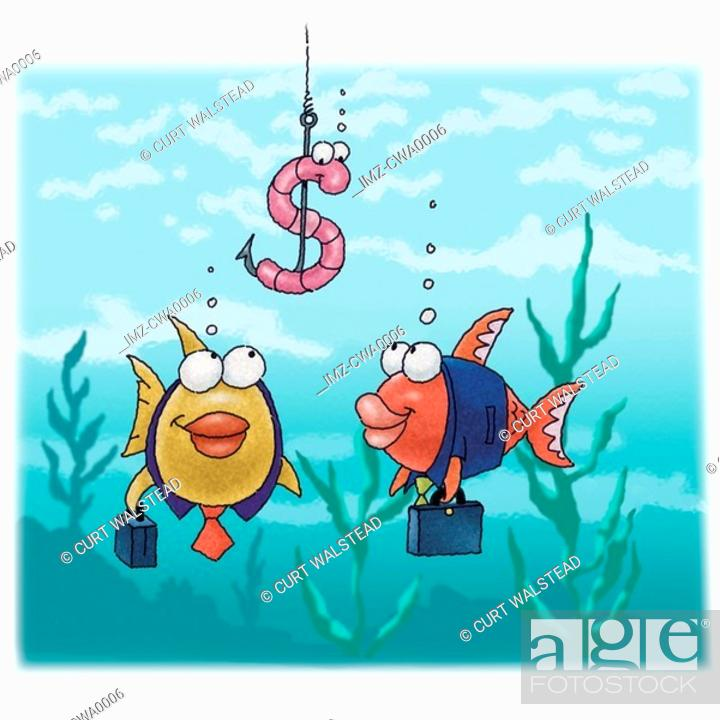 Stock Photo: A graphic representation of fish as businessmen eyeing a dollar-sign bait.