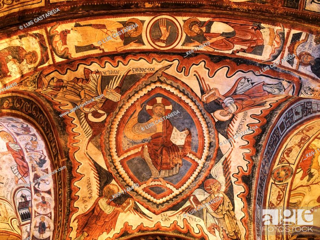Stock Photo: Burial place of 40 kings, queens and princes of Leon and Castile, with 12th century romanesque frescoes  Royal Pantheon  San Isidoro Basilica  León  Spain.
