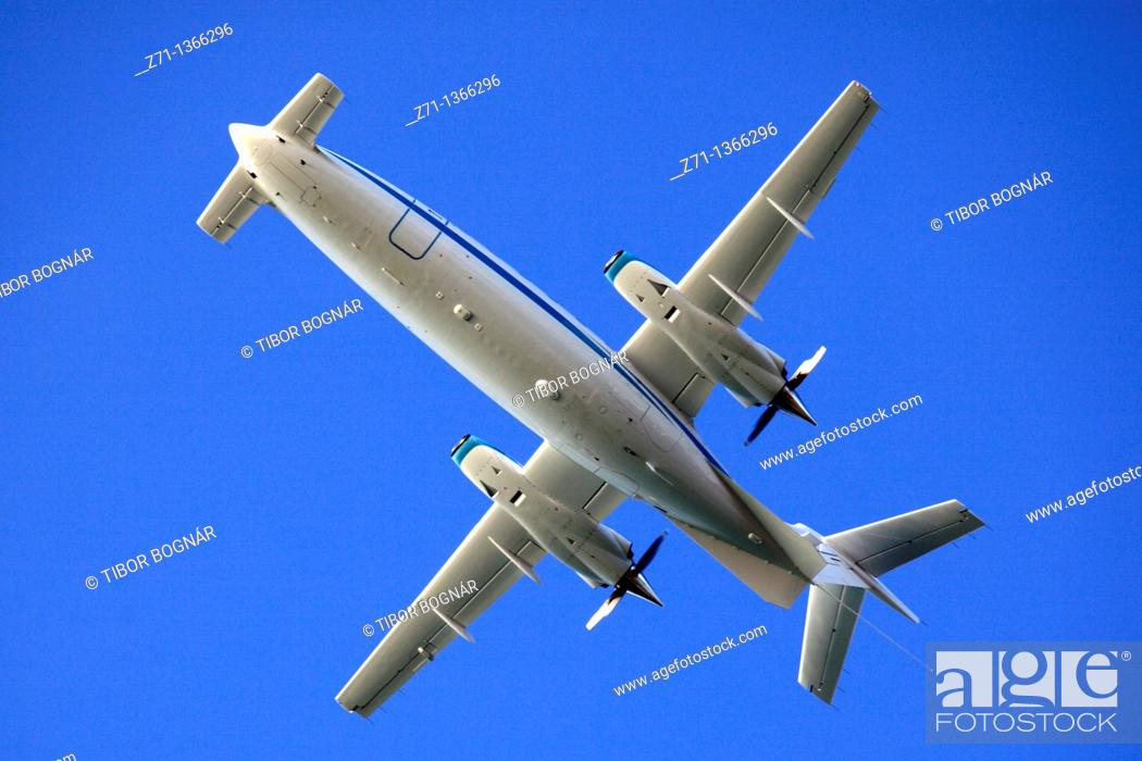 Stock Photo: United Arab Emirates, Abu Dhabi, rear facing propeller aircraft,.