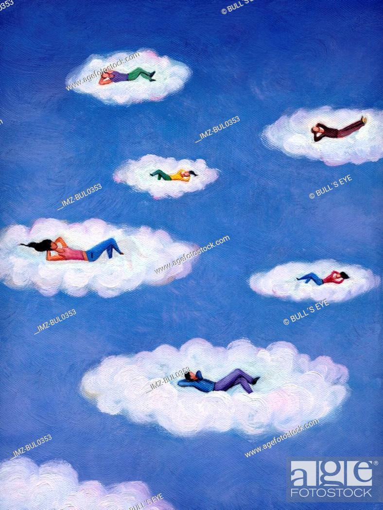 Stock Photo: People lying down and relaxing on floating clouds.