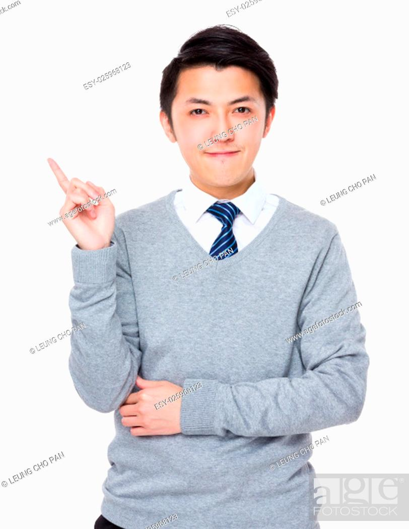 Stock Photo: Asian Businessman showing finger up.