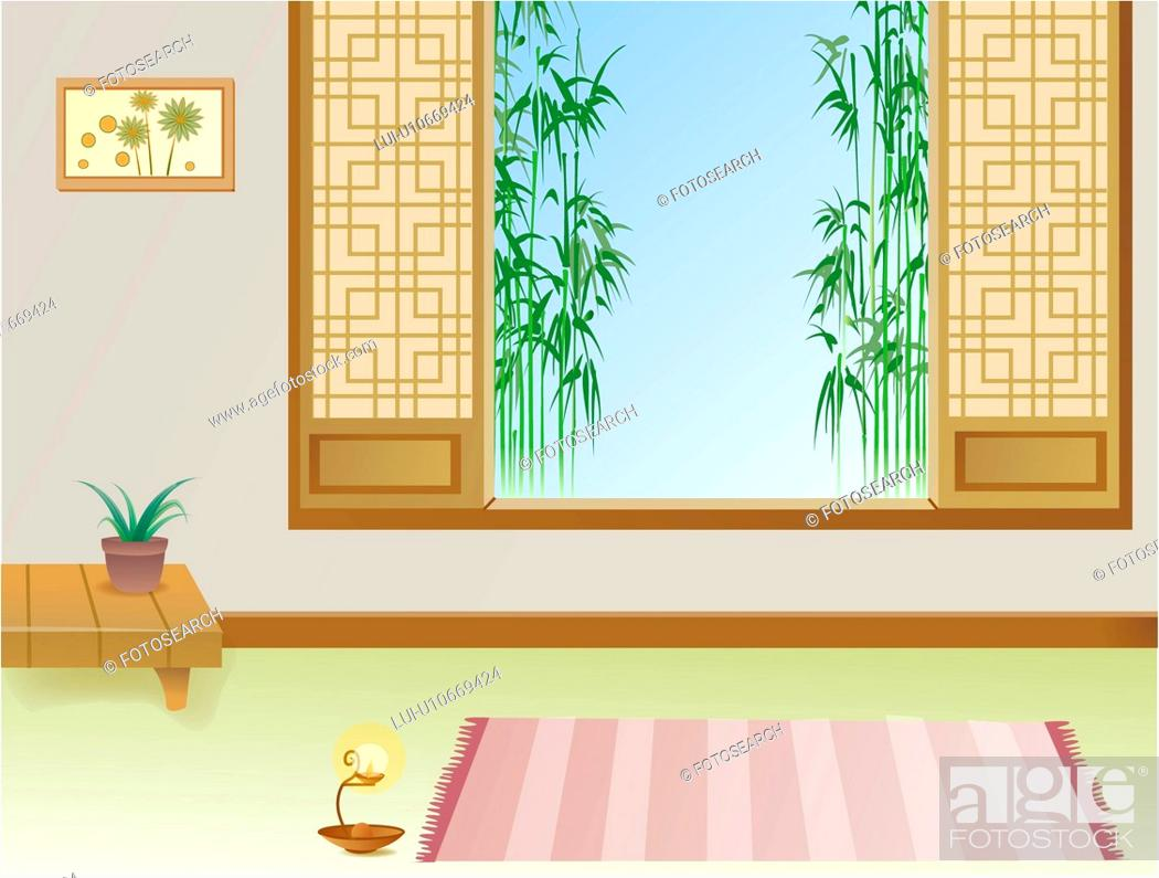 Stock Photo: bamboo, indoors, room, scenery, landscape, lamp, background.