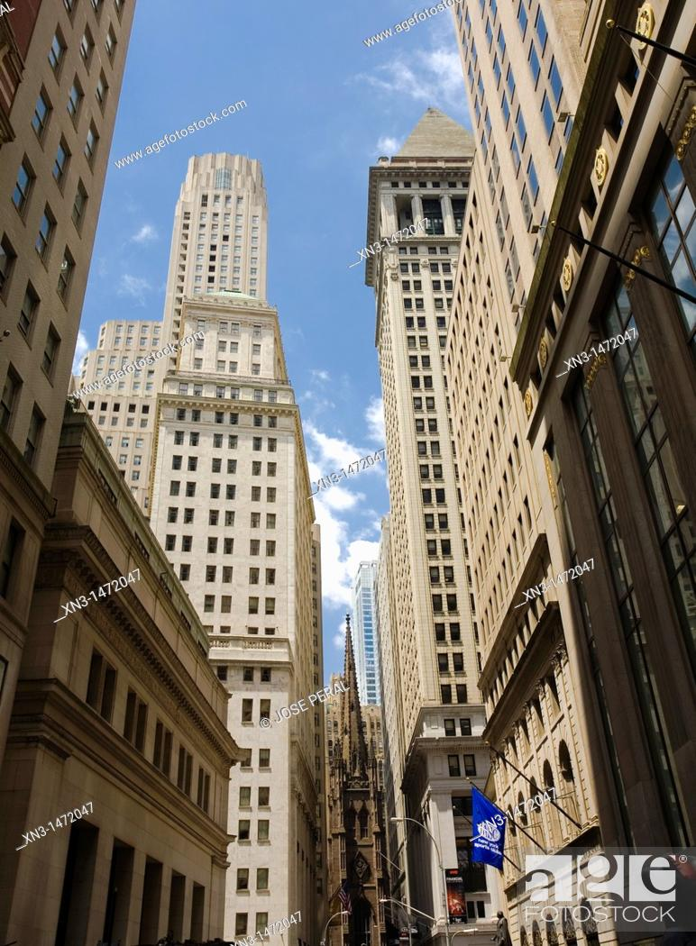 Stock Photo: Trinity Church, Wall Street, Financial District, Lower Manhattan, Downtown, Manhattan, New York City, New York, USA.