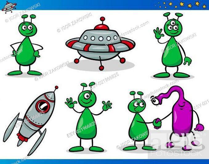 Stock Photo: Aliens or Martians Cartoon Characters Set.