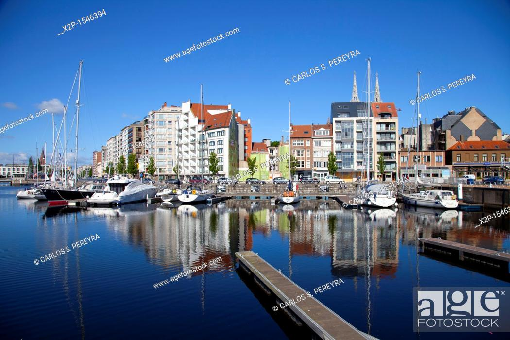 Stock Photo: Ostend Harbour, Western Flanders, Belgium, Europe.