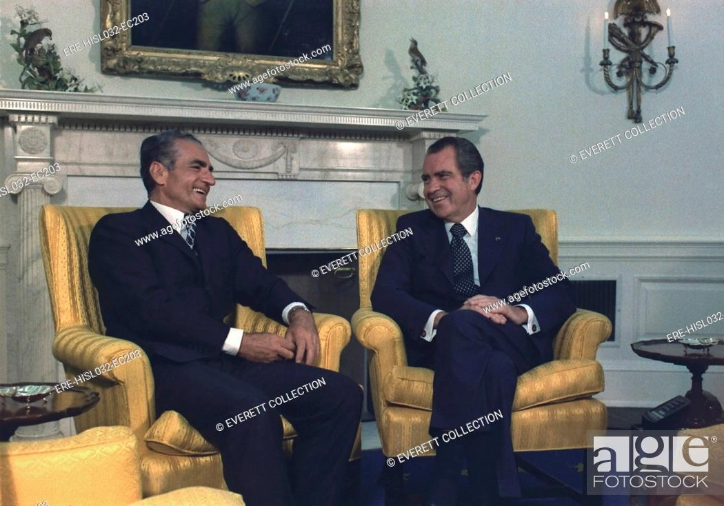 nixon office. Stock Photo - President Nixon And The Shah Of Iran Meeting In Oval Office. July 24 1973 Office O