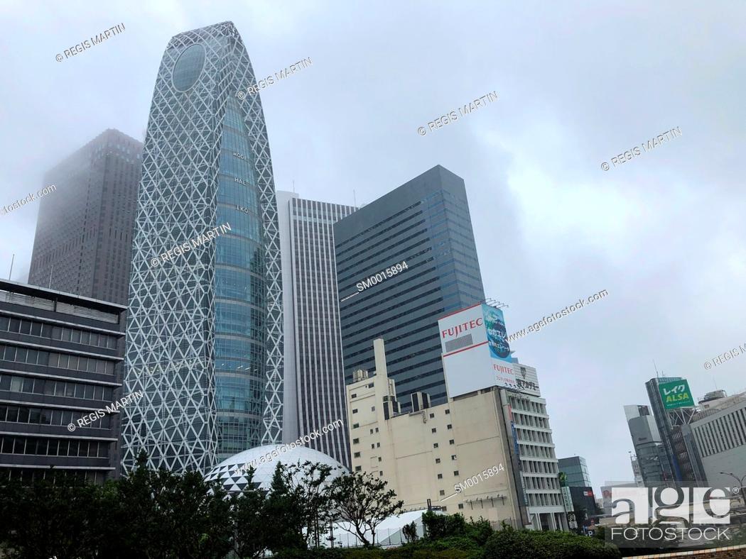 Stock Photo: Tokyo architecture in the rain, Tokyo, Japan.