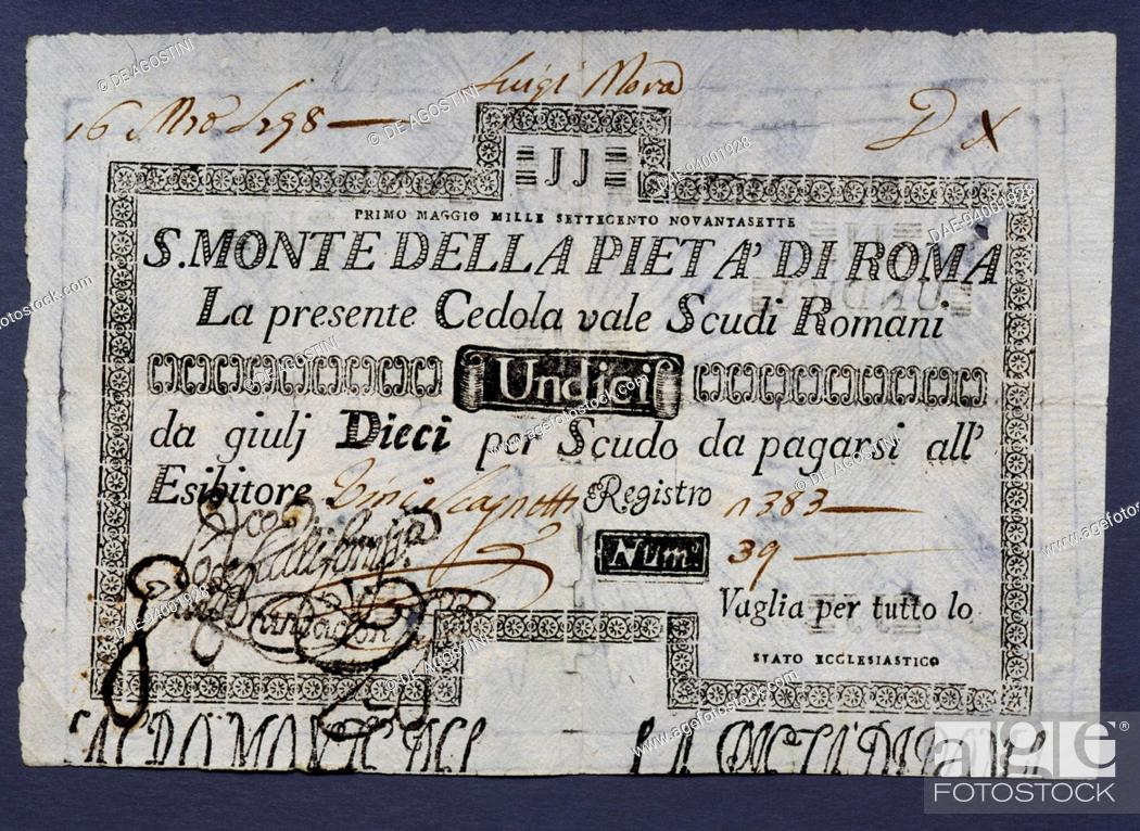 11 Roman studi money order coupon by Sacred Mount of Piety