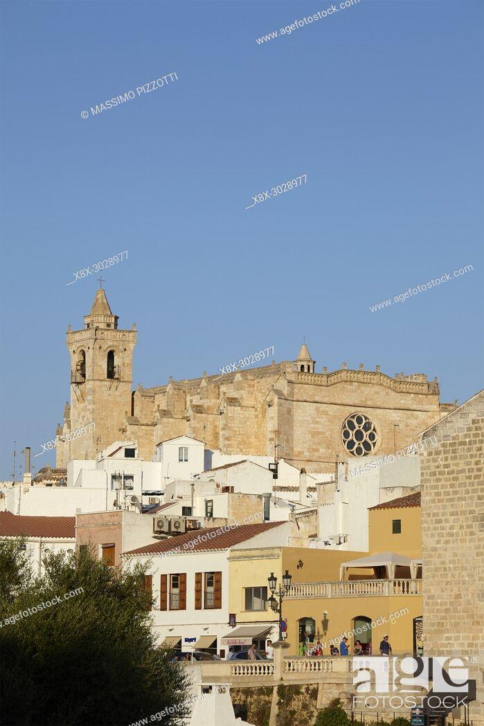 Stock Photo: The Cathedral of Ciutadella de Menorca, Balearic Islands, Spain.