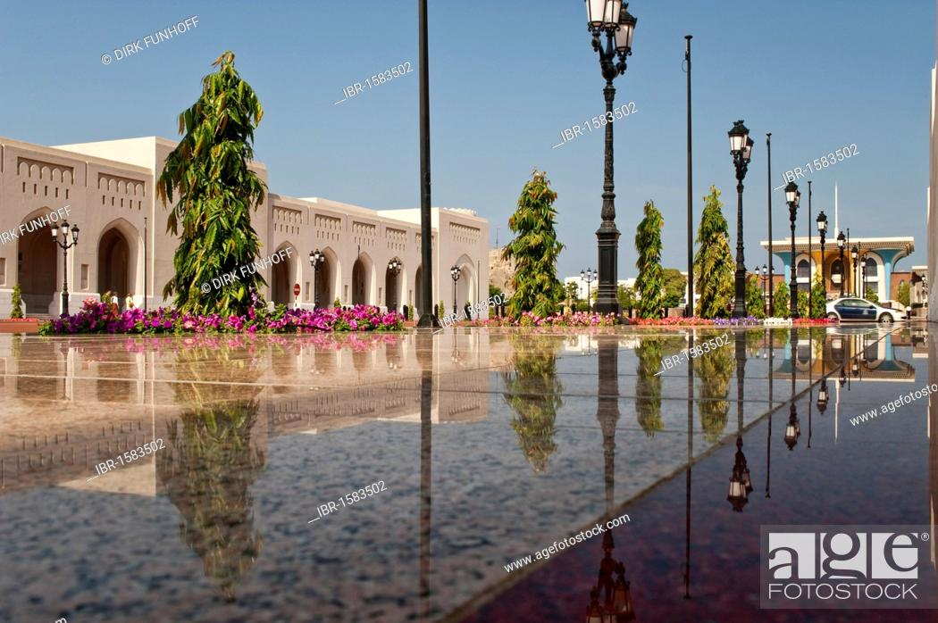 Stock Photo: Main building of the Al Alam Palace, with reflection on the shiny polished tiles of the entranceway, Muscat, Oman, Middle East.