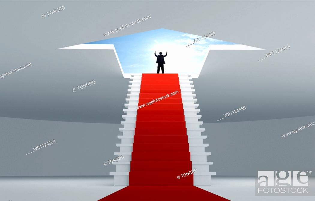 Stock Photo: a business man standing on top of the stairs.
