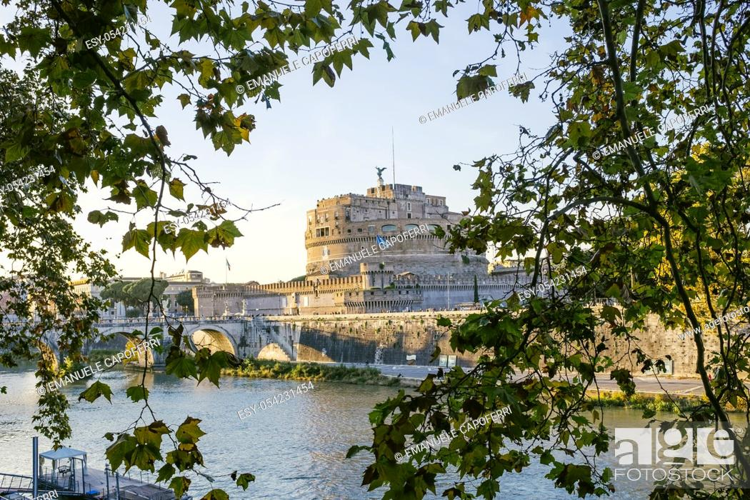 Stock Photo: Along the Tiber and Castel Sant'Angelo, Rome, Italy.