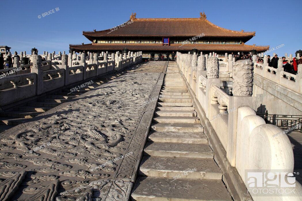 Stock Photo: White marble carved royal staircases in front of Hall of Supreme Harmony (Tai He Dian), the ceremonial center of imperial power since Ming dynasty.