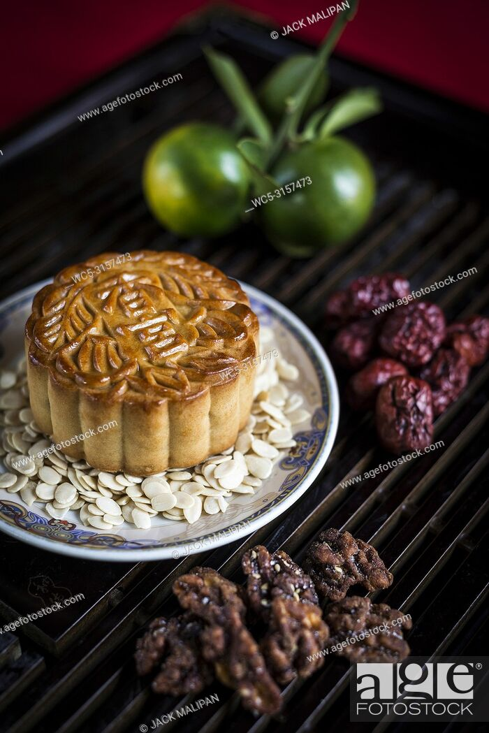 Stock Photo: gourmet traditional chinese festive mooncake pastry dessert.