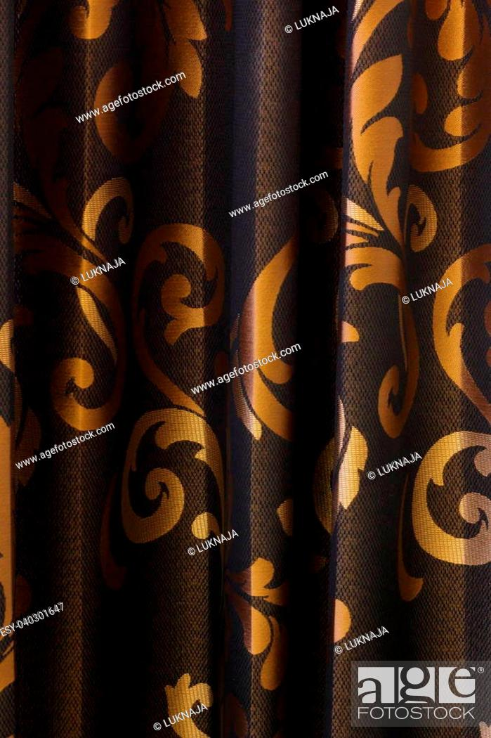 Stock Photo: Luxury Curtain - black and gold background.