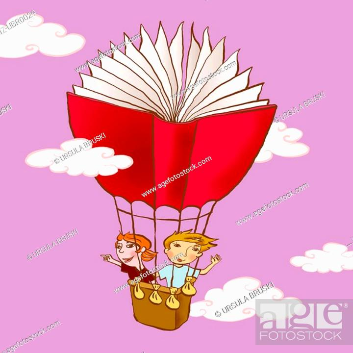 Stock Photo: Two young children drifting in a book shaped hot air balloon.