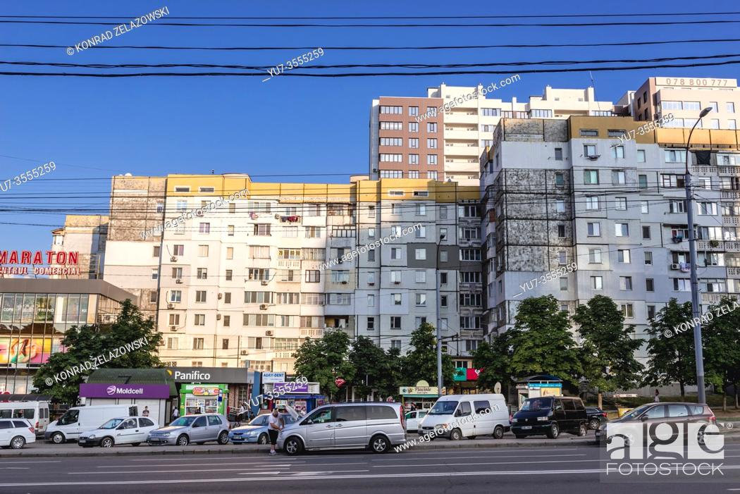 Stock Photo: Strada Ismail, one of the main streets in Chisinau, capital of the Republic of Moldova.
