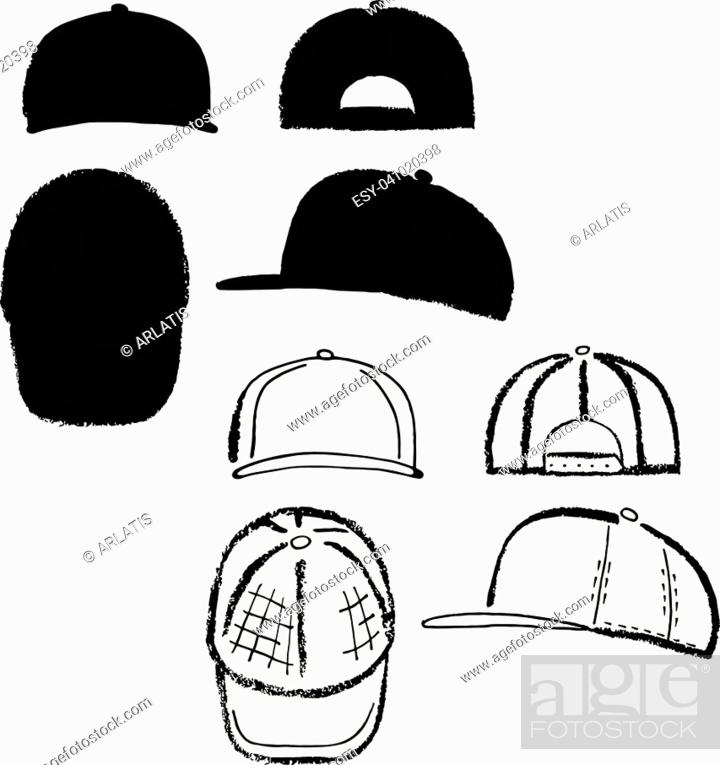 2ba66a0a Stock Vector - Baseball, tennis, rap cap outlined oil pastel template  sketch (front, back and side views), vector illustration isolated on white  background