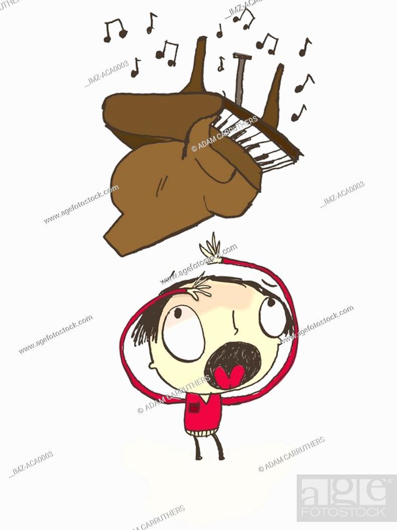 Stock Photo: A piano falling on a man.