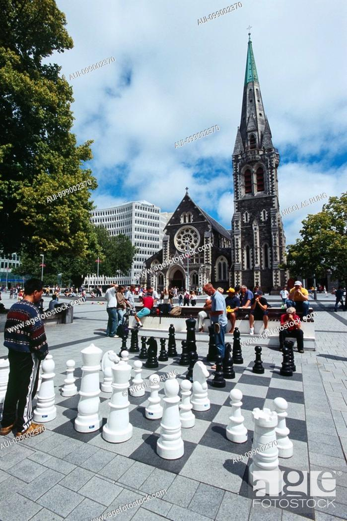 Stock Photo: New Zealand - South Island - Canterbury - the Cathedral Square - Christchurch.