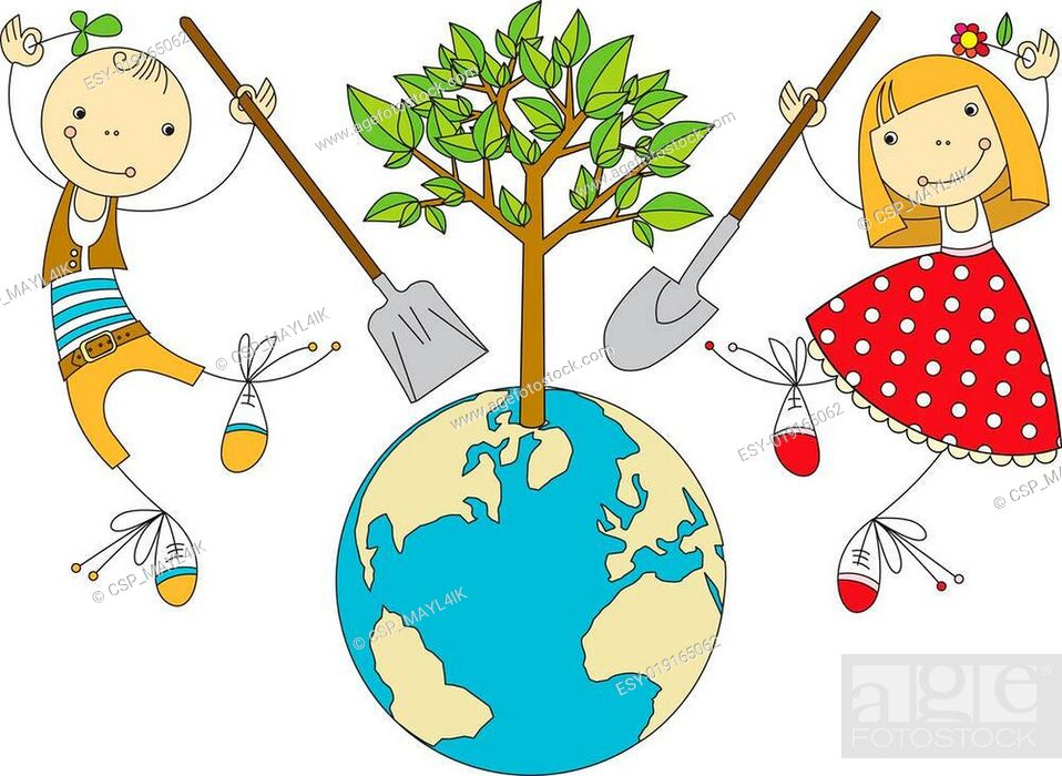 Stock Vector: Children Plant for Planet.
