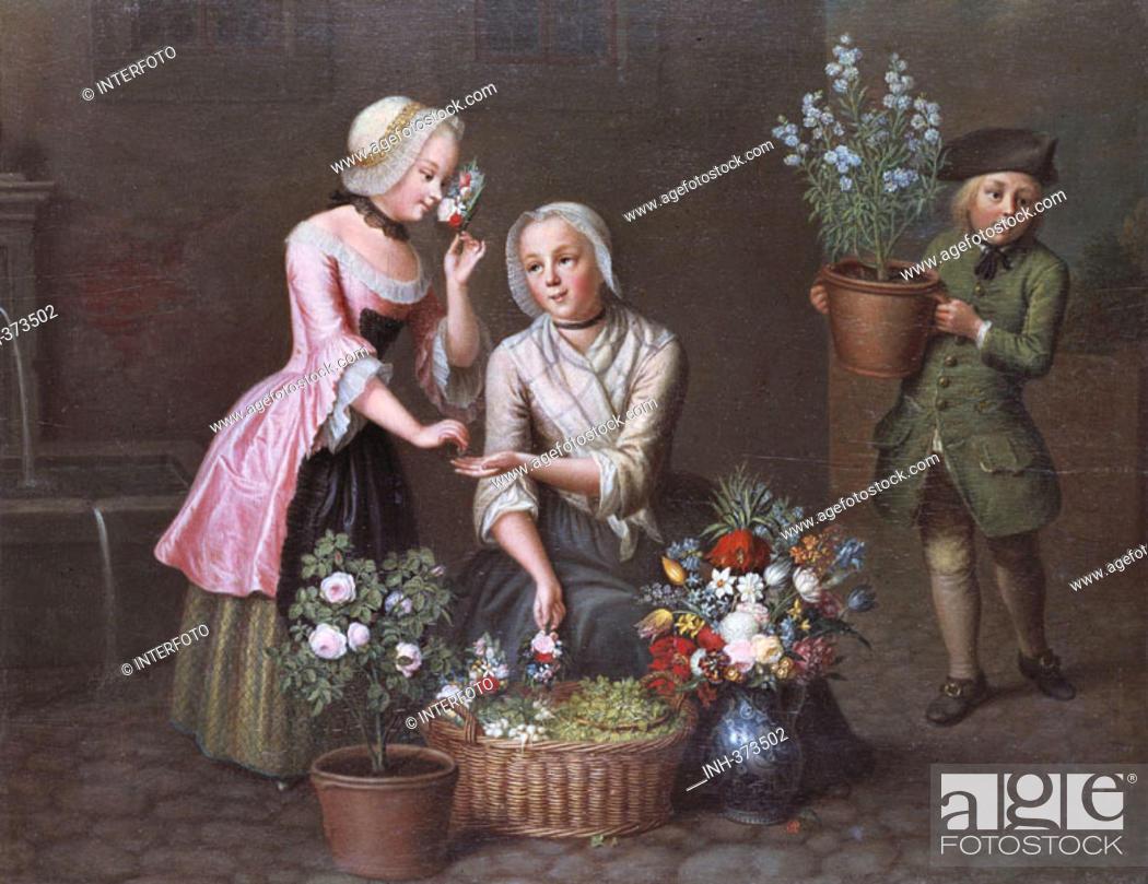Stock Photo: fine arts, Fiedler, Johann Christian, 1697 - 1765, painting, 'Vier Jahreszeiten - Frühling', 'four seasons - spring', State Museum of Hesse, Darmstadt, historic.